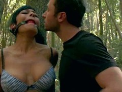 Beretta James and Chanel Preston receive punished in the woods by angry land owner James Deen. Large meloned Beretta James finds herself bound to a try and ball gagged to receive the torment session started.