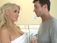 James Deen finds pretty large titted golden-haired Tia McKenzie masturbating in the laundry room. Shes a pretty gal and this guy gives her a abetting dick! Large titty golden-haired bares all out of constraint and sucks him in advance of bawdy cleft fucking.