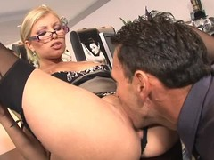 Lengthy legged glassed office golden-haired Donna Siren in dark stockings and bumptious heels acquires will not hear of hawt muff eaten and screwed on the desk by excited boss. This four-eyed fantasy chick likes hardcore sex at work!