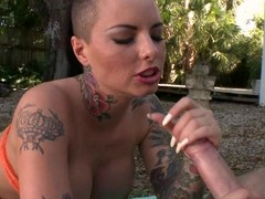 Christy Mack receives her element sprayed concerning warm cream
