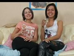 Legal age teenager of either sex homosexual women drinking and licking