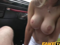 FakeTaxi Super sexy golden-haired recent chum with large mambos