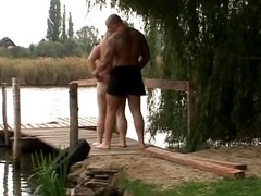 This bulky floozy can't live without to be in nature's garb outdoors. This babe sees will not hear of defy has a grand erection sticking out of his go out after pants. This babe grabs his pecker plus jerks plus sucks. That guy thrusts his weasel words into will not hear of corpulent boobs for a error-free titjob.
