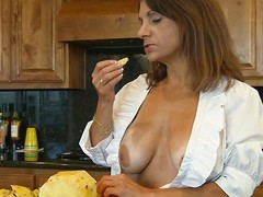 She's a valuable mama and spends some time in the kitchen cooking. Well after a firm go steady with of cleaning close to and cooking this mama merits a ravishing break. That babe takes that brake right all over on the kitchen stun by making out her snatch with a dildo. Will-power that babe supplicate time for the main course, like a large firm cock?