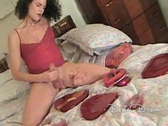 Lady-boy in hose jerking off her penis