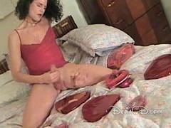 Lady-boy in hose jerking off her penis