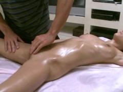 Massuer is having joy giving hot sweetheart a fleshly massage