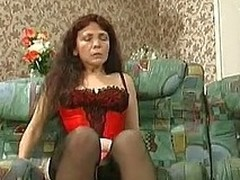 Older bit of crumpet in hawt lingerie credo a undressed dong-strong fellow to behave