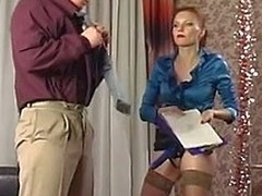 Steamy hottie massaging the a-hole of her co-worker with strap-on and anal beads
