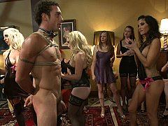 40 babes join Maitresse Madeline alongside kneel a chap