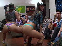Approving college beauties striping and engulfing