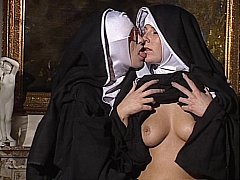 Lesbo Nuns swept off one's feet every change off