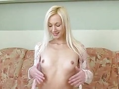 Tall Undernourished Blond Undress show Masturbation