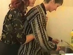 Russian Mommy and Little shaver in Kitchen