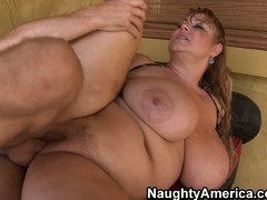 Plumper old bag Samantha has eminent hooters added to a chubby wet crack getting drilled