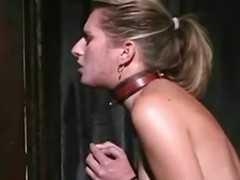 A blond thrall cutie takes a whipping