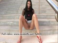 Suri _ Sexy dilettante brunette hair acting unfortunate added to touching their way slit in public