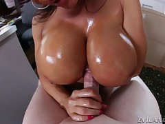 Hot Lisa Ann blows weenie and acquires fuck between her eminent wobblers.
