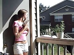 youthful angel teasing her neighbour
