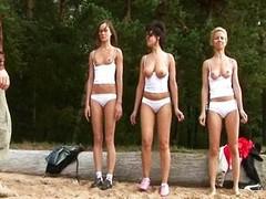 Overt training for 3 juvenile dilettante hotties
