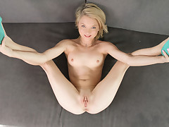 Diminutive golden-haired acquires drilled