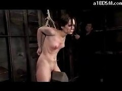 Skinny Angel With Bound Arms Tortured With Movies Whipped In The Dungeon