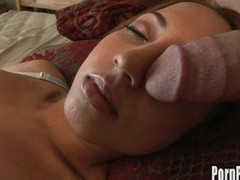 Veronique Vega's throat on a massive wang whilst getting her 40 winks.