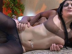 Hawt darksome brown enjoys pantyhose worshipping and fondling during the foreplay