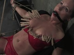 Tow-headed dame roughly red underware receives clothespinned and toyed