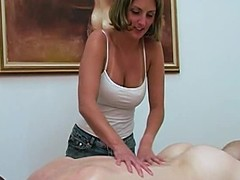 Super golden-haired pleases their way excited BF down massage paired with a cook jerking