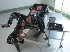 Nipp Torment and Having it away Tool Act in Latex Fetish Lesbo S&m