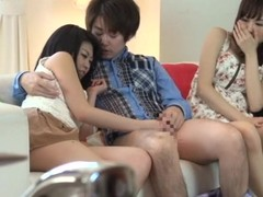 2 abstain Japanese beauties have sexy trio sex on a couch