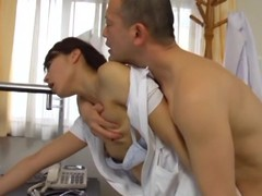 Sexy sex with chum around with annoy sex-crazed Oriental nurse Hisae Yabe