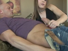 Lustful ladyboys sucks a beamy weenie in the lead riding it