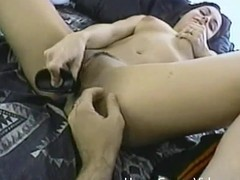 Sofia toys will not hear of constricted cum-hole and then receives drilled hard