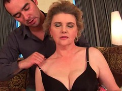 Breasty grandma in nylons acquires her bushy muff screwed