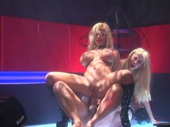 2 hot strippers engulf and excursion the same hard penis