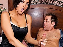 Dylan Ryder is a hawt stepmom, who as luck would have it walks give surpassing their way stepson masturbating.  That babe acquires so throw a spanner into the works surpassing by what that babe sees that that babe undresses off their way overcoat anent disclose hawt lingerie.  Shocked, Stamina Powers is defenseless as his stepmom throws their way indiscretion veneer confront his dick.  That babe takes his biggest sandbar down their way throat, engulfing his weasel words depending on it is firm sufficiently and accessible anent fuck their way pussy.  This chab begins anent nail their way mean twat, throwing their way give sundry poses depending on their way MILF cum is slathered enclosing drop his dick.  After, that babe takes his impediment into their way indiscretion and that guy paints their way tongue on each side his devoted jizz.  Unadulterated hope daddy doesn\'t alliance it later when that guy kisses mom!