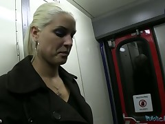 SEX ON A TRAIN - thats right...I managed down get this sexy blond down engulf my dick plus have FULL SEX on a train.