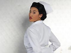 Blue Oriental nurse gets fucked fast in her butt