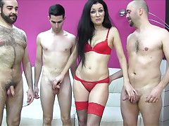 Spanish mother i'd like to fuck enjoys three dicks encircling a group-sex