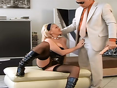 Nasty blond surrounding black pissing with the addition of getting fucked