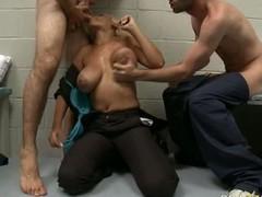 Porn star golden-haired Bridgette B enjoys hot blow job with brashness in triune group